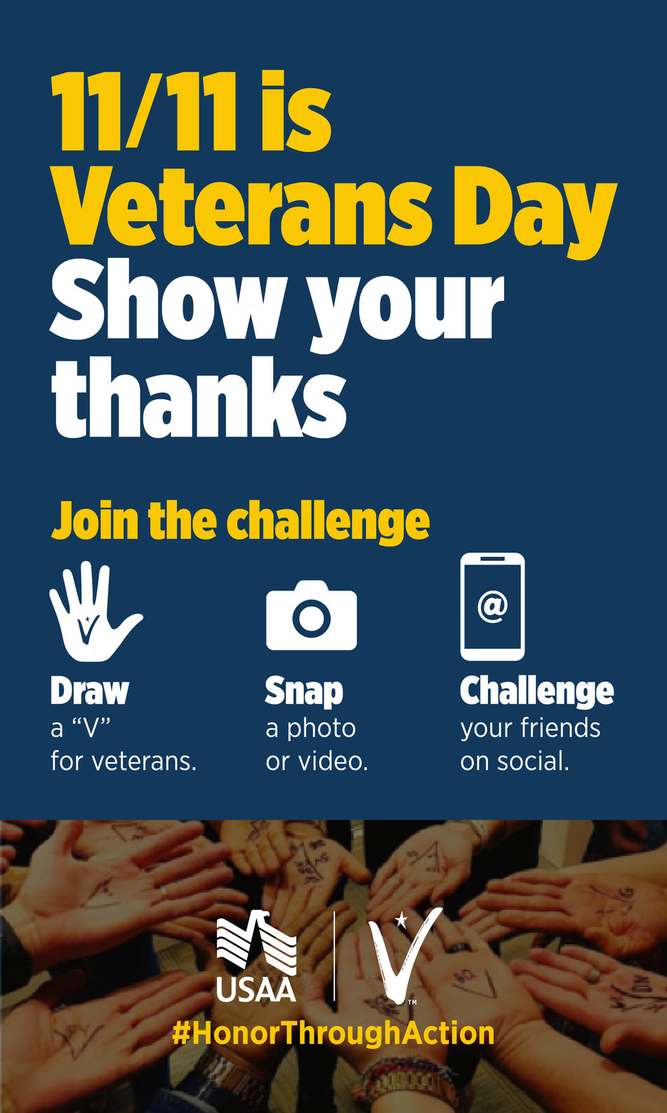 USAA encourages all to join the challenge and celebrate the more than 18 million veterans in the U.S. To learn more, visit usaa.com/veteransday.