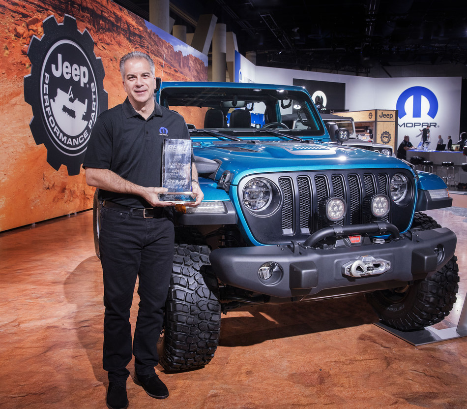 """The Jeep® Wrangler has been named """"4x4/SUV of the Year"""" for the 10th straight year at the Specialty Equipment Market Association (SEMA) Show in Las Vegas on Monday, Nov. 4, 2019. """"We are proud and honored to win '4x4/SUV of the Year' award for 10 years in a row, which is a testament not only to the staying power of the Jeep Wrangler, but also to the passion and creativity of the aftermarket community,"""" said Mark Bosanac, Head of Mopar Service, Parts and Customer Care, FCA – North America."""