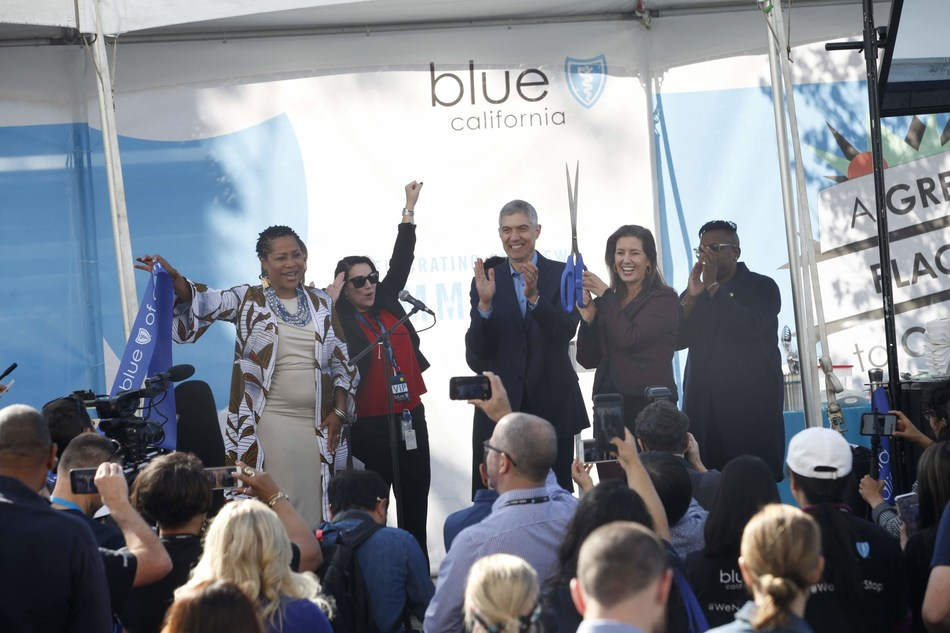 Local officials joined the celebration of Blue Shield of California's new Oakland headquarters with a ribbon-cutting on Monday. Left to right: Oakland Councilwoman Lynette Gibson McElhaney, Blue Shield of California Chief Human Resources Officer Mary O'Hara, Blue Shield of California President and CEO Paul Markovich, Oakland Mayor Libby Schaaf and Tatyana Kalinga, District Director for Congresswoman Barbara Lee (CA-13).