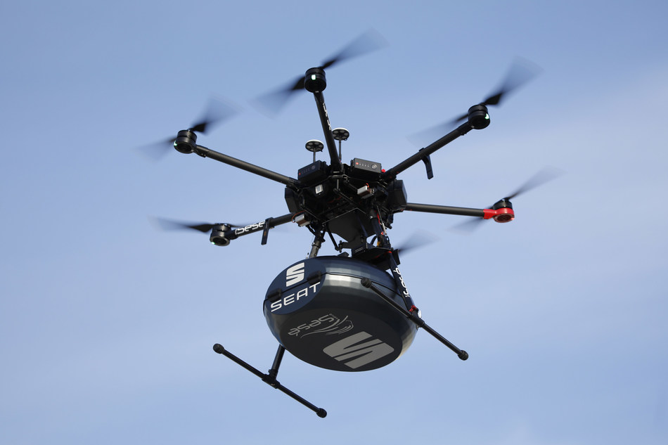 This system is emissions-free as drones run on electric batteries.