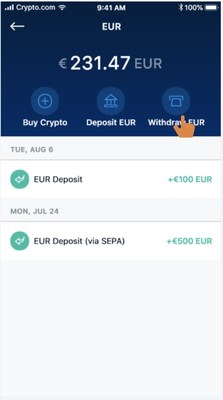 Step 1 Click Withdraw EUR
