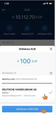 Step 3 Input withdrawal amount and select recipient account