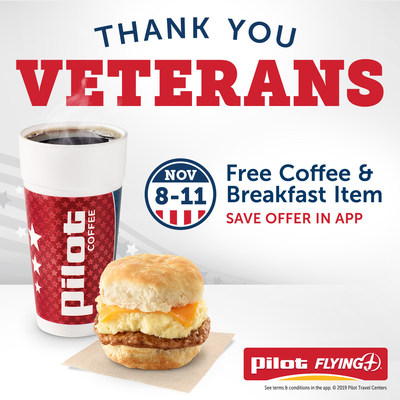 Honoring all who have served this Veterans Day, Pilot Flying J invites all active-duty and retired military veterans to enjoy free breakfast Nov. 8-11. Download the Pilot Flying J app to save the Veterans Day offer and find nearby locations.
