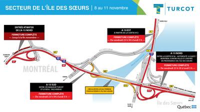 Entraves − secteur de l'Île-des-Sœurs (Groupe CNW/Ministère des Transports)