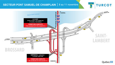 Entraves − secteur pont-Samuel-de-Champlain (Groupe CNW/Ministère des Transports)