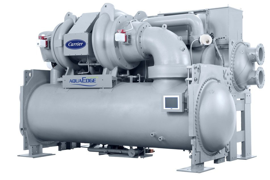 The Carrier AquaEdge® 19DV water-cooled centrifugal chiller, winner of a MENA Green Building Product of the Year in the winner in the Energy Management category.