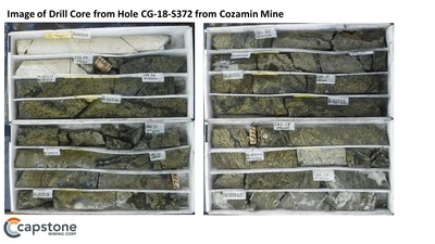 Figure 4. Image of drill core from hole CG-18-S372. For full details refer to the November 5, 2019 news release. (CNW Group/Capstone Mining Corp.)