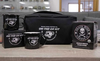 The Death Wish Coffee On-The-Go Kit includes a convenient canvas bag, 2 enamel mugs, and features a 10-count box of Death Wish Coffee single serve pour over pouches, co-packed by NuZee Inc.