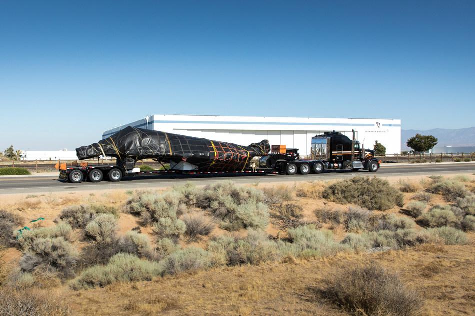 F-117 Nighthawk fuselage in transport in front of Lockheed Martin Skunk Works® in Palmdale, California.