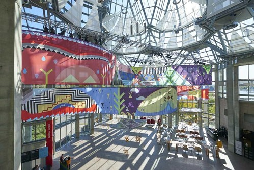 Installation view of Jordan Bennett, Tepkik, 2018–19. Collection of the artist. Commissioned by Brookfield Place, Toronto. Produced by Pearl Wagner Media & Art Consultants. © Jordan Bennett Photo: NGC (CNW Group/National Gallery of Canada)