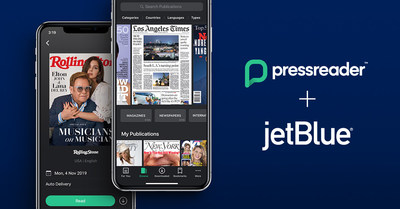 PressReader, Showtime, Spotify, and INSCAPE are among JetBlue's new complimentary in-flight entertainment offerings (CNW Group/PressReader Inc.)