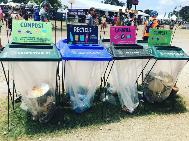Composting is just one component of Bonnaroo's waste-diversion efforts, which include donating leftover food and recycling as much as possible. In 2018, the festival converted 140 tons of organic waste to compost and achieved an overall diversion rate of 52 percent. With a sellout crowd at Bonnaroo this year, even more organic material was diverted with the help of Eco-Products.