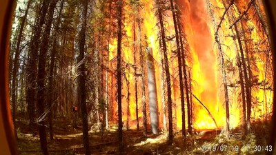 Forest Fire Approaching an RS Pole (stage 1 of 3) (CNW Group/RS Technologies Inc.)
