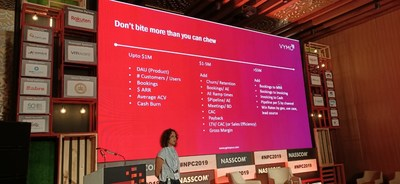 Yamini Bhat, Co-Founder and CEO of Vymo, addresses the gathering at NASSCOM Product Conclave 2019