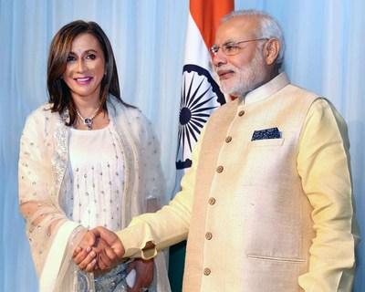 Meera Gandhi with Indian PM Narendra Modi