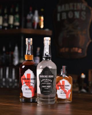 Barking Irons Spirits portfolio (L to R): 100-proof, original barrel-aged Applejack; 110-proof, unaged White Night; 100-proof, barrel-aged Applejack in new portable flask size