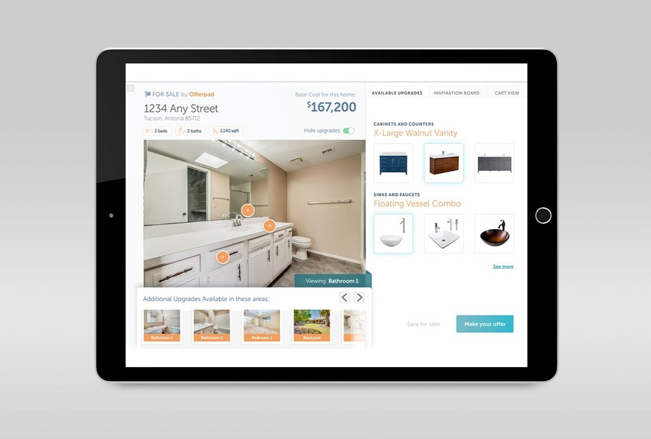 Home buyers will be able to select customized upgrade options online, adding them to their shopping cart. It will be considered part of the purchase and completed prior to move in.