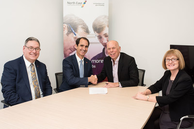 The Delaware Prosperity Partnership (DPP), the state economic development organization, and the North East Local Enterprise Partnership (NELEP) in the UK have signed a cooperative agreement to support joint business development. Pictured, from left to right: Kurt Foreman, DPP CEO; Rod Ward, DPP Board Chair; Andrew Hodgson, NELEP Board Chair; and Helen Golightly, NELEP CEO.
