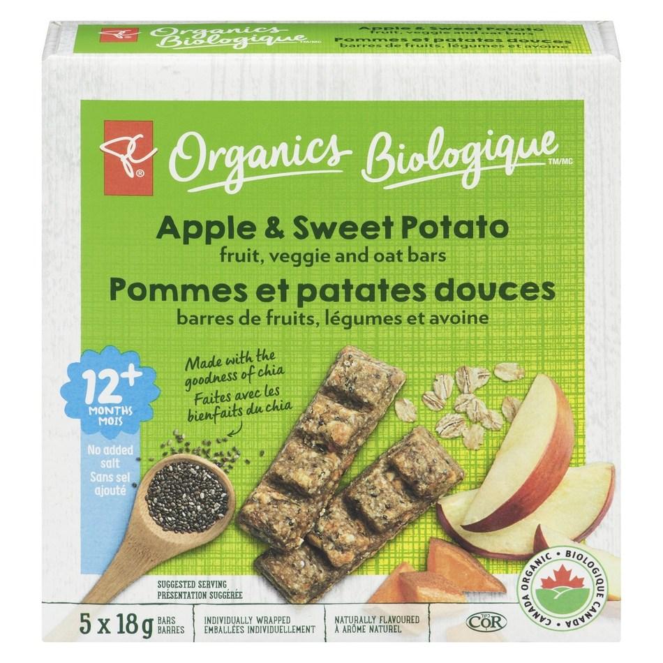 PC Organics Apple & Sweet Potato fruit, veggie and oat bars (CNW Group/President's Choice)