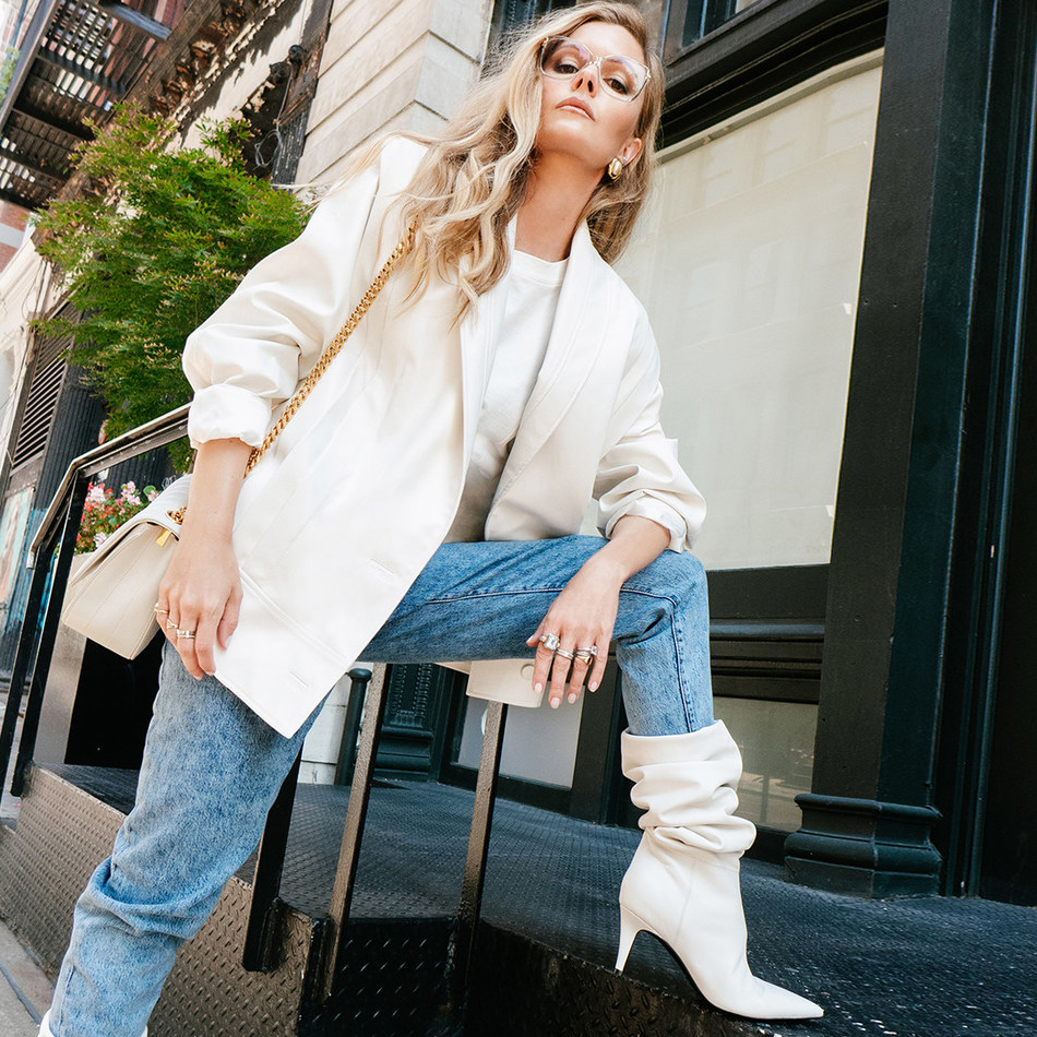 Elizabeth Sulcer modeling the 'Ginnie' boot from the Elizabeth Sulcer x Marc Fisher LTD capsule collection