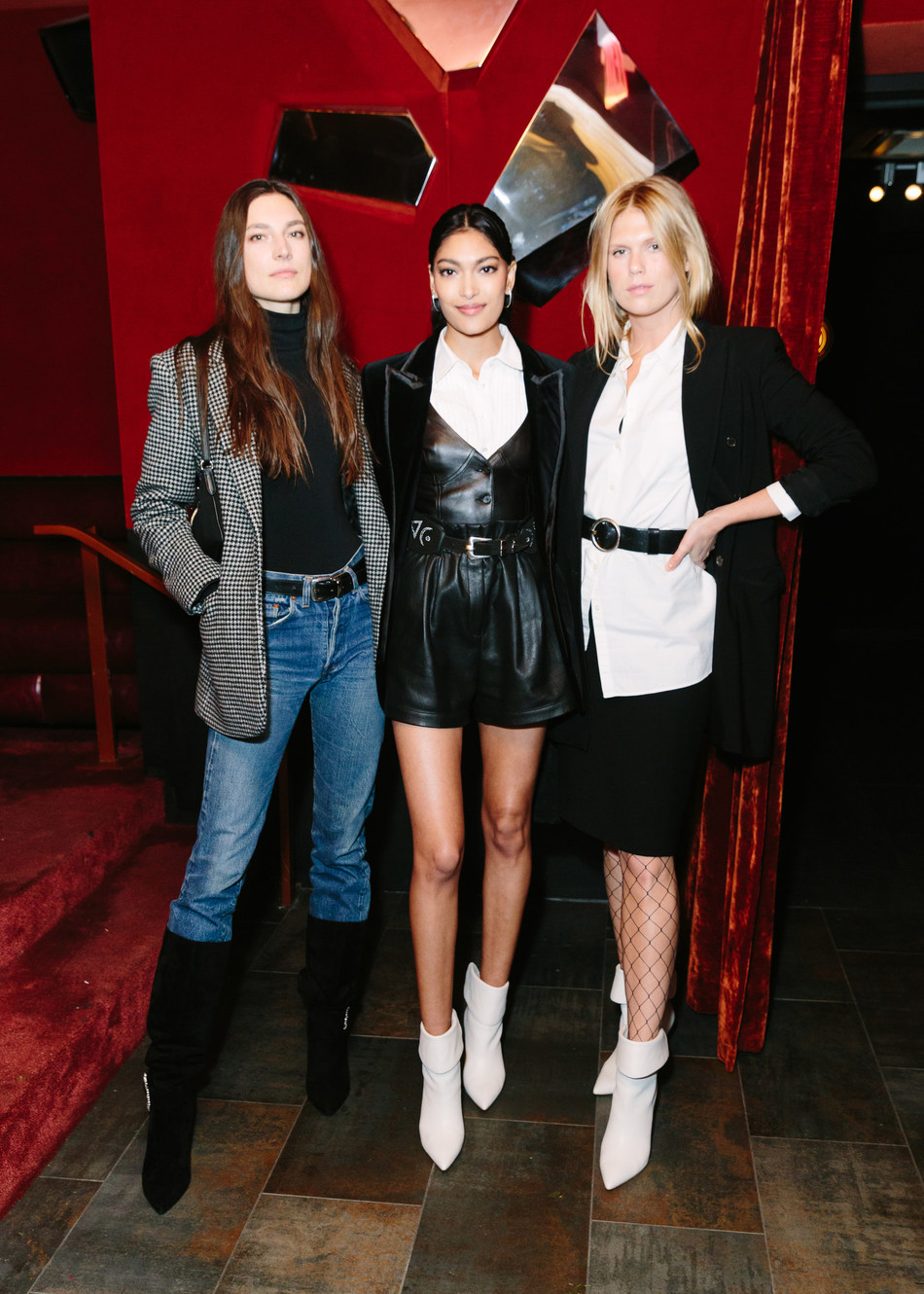 Jacquelyn Jablonski, Pritika Swarup, and Alexandra Richards wearing the 'Gresha' and 'Fifi' boots from Elizabeth Sulcer x Marc Fisher LTD