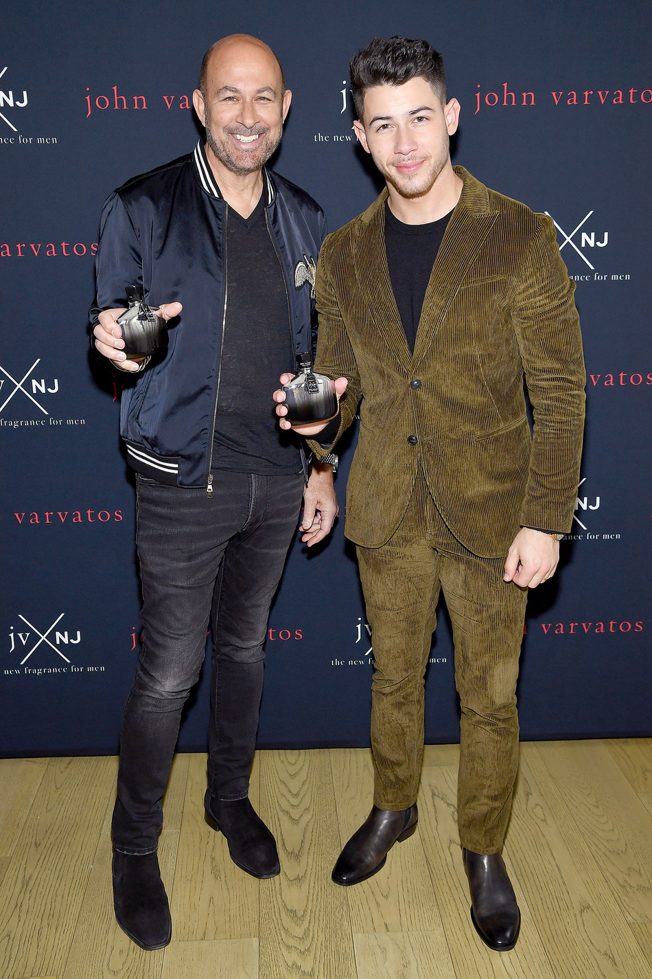 International menswear designer John Varvatos and Musician/Actor Nick Jonas launch their new fragrance JVxNJ Silver Edition on November 7, 2019 in New York City. (Photo: Getty Images)