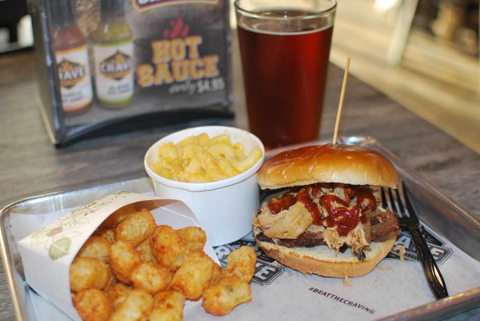 Pulled Chicken Sandwich with tots, Mac N Cheese and a Craft Beer.