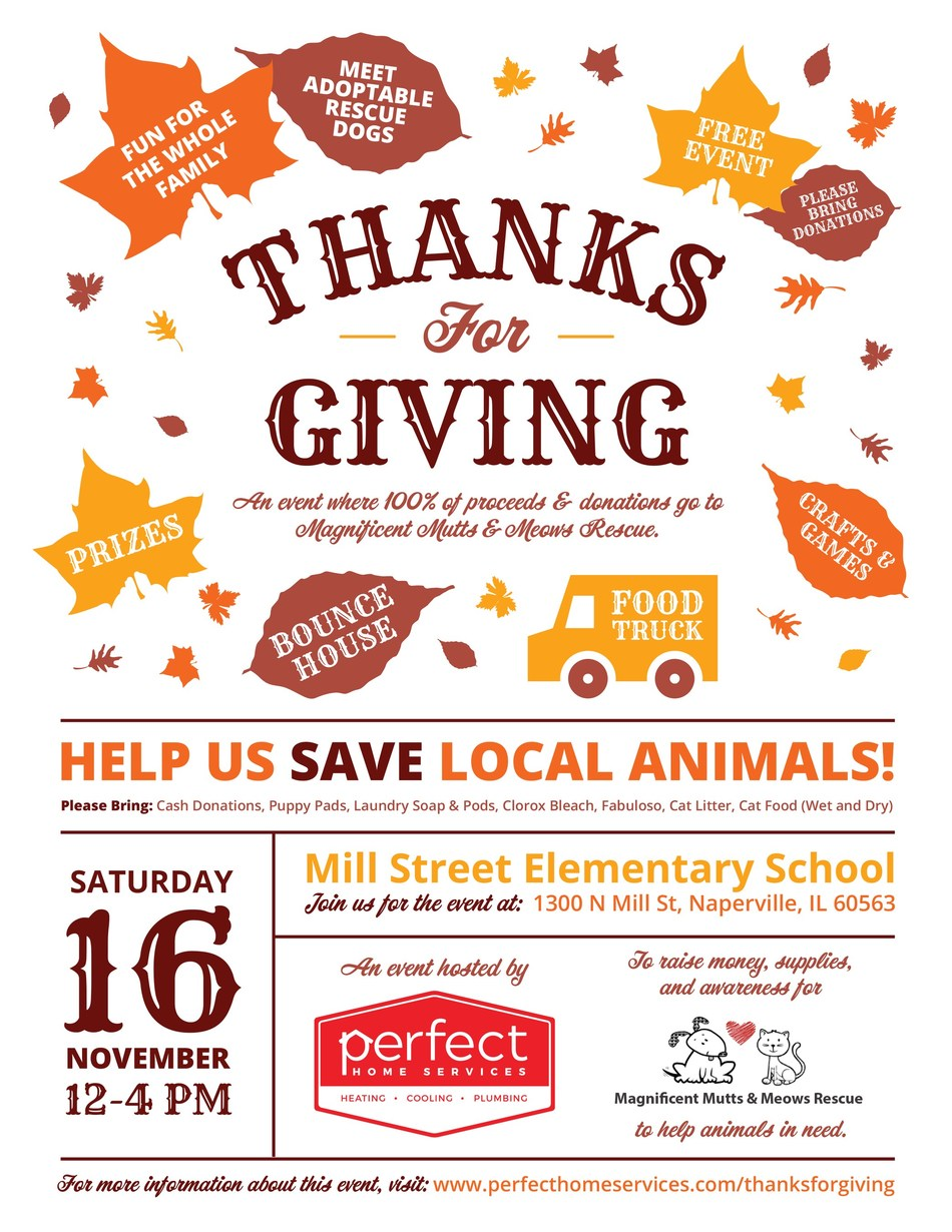 """Perfect Home Services Hosts """"Thanks for Giving"""" event with all proceeds and donations going to local animal rescue Magnificent Mutts & Meows."""