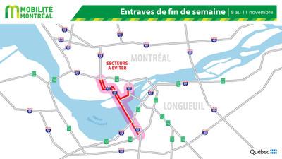 Carte générale des entraves, fin de semaine du 8 novembre (Groupe CNW/Ministère des Transports)