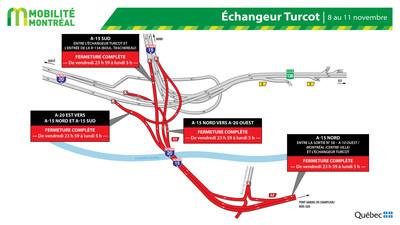 Fermetures Turcot, fin de semaine du 8 novembre (Groupe CNW/Ministère des Transports)