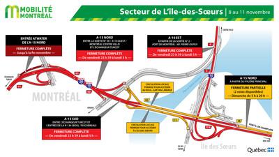 Fermetures île des Soeurs, fin de semaine du 8 novembre (Groupe CNW/Ministère des Transports)