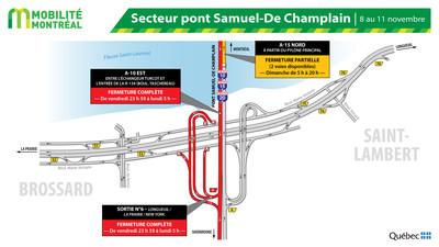 Fermetures A10/R132 à Brossard, fin de semaine du 8 novembre (Groupe CNW/Ministère des Transports)
