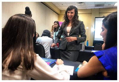 Michelle Mancini, Senior Manager of Career Services Training at Ultimate Medical Academy, teaches participants of the 2019 Women's Conference of Florida College Women on the Rise Program job interviewing skills.