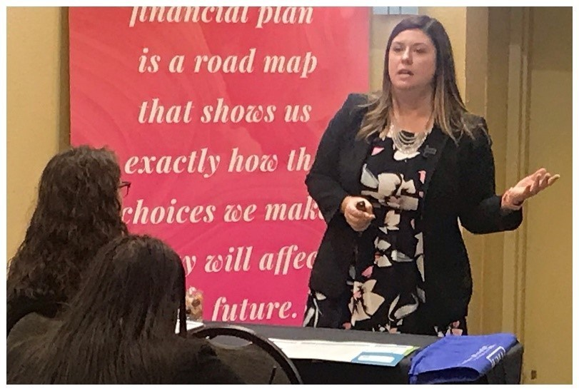 Brandi Yates, UMA's Director of Career Services Training, speaks about resume-writing techniques for the digital age at the 2019 College Women on the Rise program.