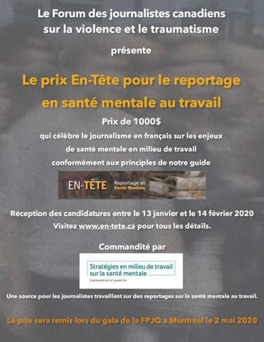 Affiche pour le prix En-Tête (Groupe CNW/Forum des journalistes canadiens sur la violence et le traumatisme)