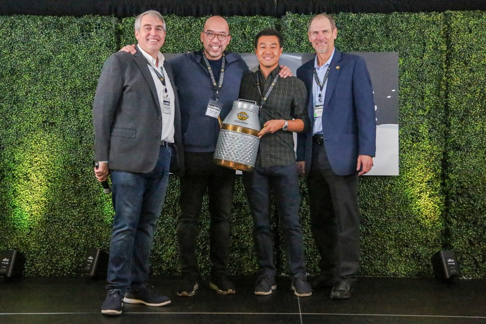 Left to right: Fred Schonenberg, founder of VentureFuel, Kevin Yeung and David Sheu, co-founders of Bears Nutrition, and John Talbot, CEO of the California Milk Advisory Board.