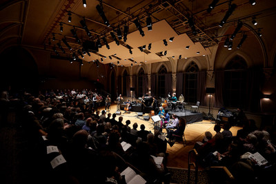 "Brooks Concert Hall during the performance of Osvaldo Golijov's ""Falling Out of Time."" Photo courtesy of College of the Holy Cross"