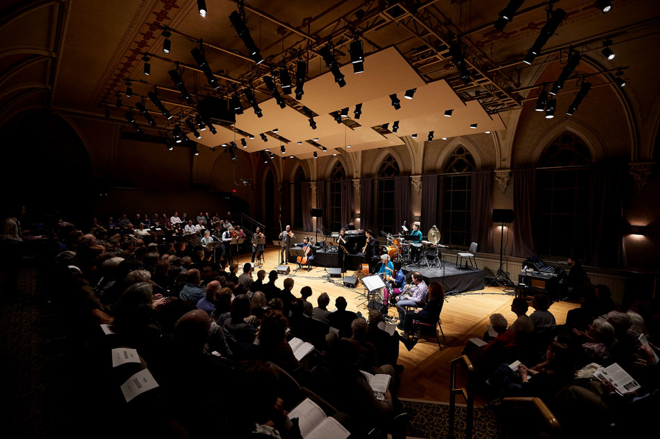 """Brooks Concert Hall during the performance of Osvaldo Golijov's """"Falling Out of Time."""" Photo courtesy of College of the Holy Cross"""