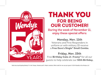 During the week of Nov. 11, Wendy's customers can enjoy these special offers.