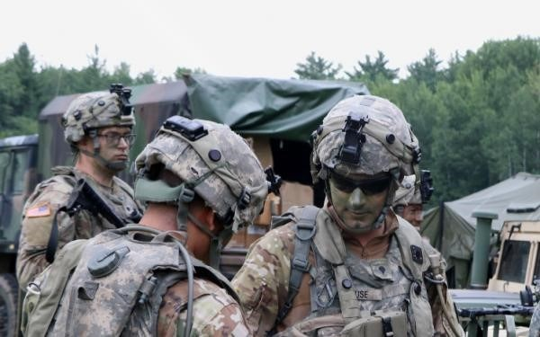 Soldiers train during a 21-day eXportable Combat Training Capability (XCTC) rotation at Camp Ripley, Minn., on July 17, 2019.  This was one of over 40 National Guard exercises, many battalion-sized or larger, that Ravenswood Solutions has supported.*