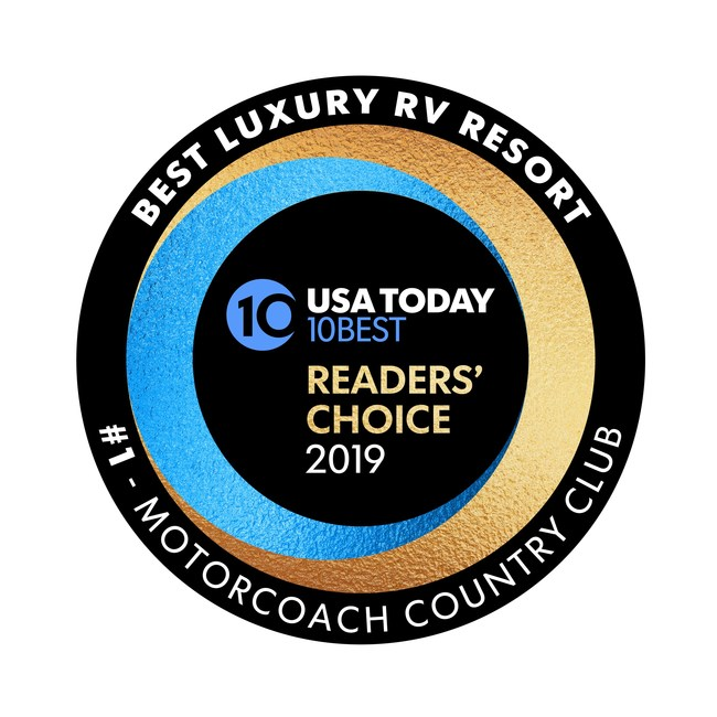 Motorcoach Country Club in Indio, CA named #1- Best Luxury RV Resort by USA Today 10Best editors and readers.