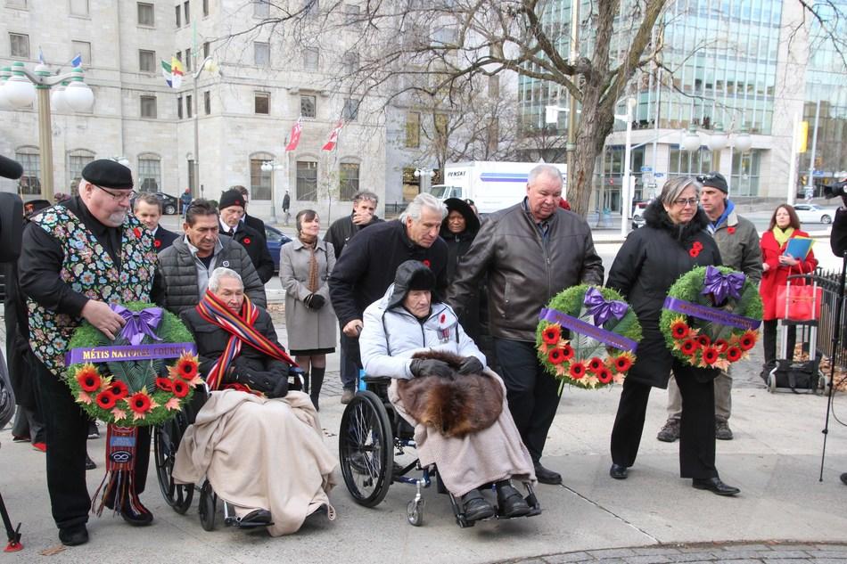 Métis Nation Honours Two Second World War Veterans on National Aboriginal Veterans Day in Ottawa (CNW Group/Métis National Council)