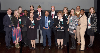 Karmanos Cancer Institute honored its 2019 Heroes of Cancer at a special reception held Nov. 6. This year's inspirational heroes are (left to right) Todd McKay, Audrey Ray, Connie Claybaker, Michael Hunt, Renee Schuett, Ann Delisi, Jerry Gorski, Asfar Azmi, Ph.D., Kay-Uwe Wagner, Ph.D., Jeanne Melton, RN, Nancie Petrucelli, M.S., CGC, Izabela Babinski, Frank Fields, Dreshawna Triplett and Linda Robinson, MSW. Not pictured are Frank McGeorge, M.D., and Philip, M.D., Ph.D. - Photo credit Sean Cook