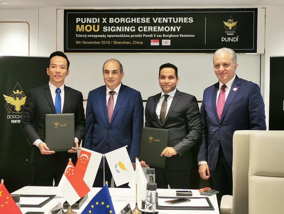 Witnessed by H.E. Mr. Demetris Syllouris, the President of the Parliament of the Republic of Cyprus, the MOU signing ceremony held in in Shenzhen, China. Pundi X and Borghese Ventures will explore and bring blockchain technology to Cyprus. (Photo from L to R): Zac Cheah (CEO and Co-Founder, Pundi X Labs), H.E. Mr. Demetris Syllouris (the President of the Parliament), Joseph Borghese (Founder and CEO of Borghese Ventures) and Mr. Nicos Tornaritis (MP Parliamentary Leader).