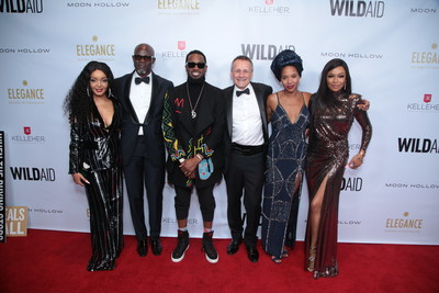 Tebongo Mekgwe, Djmon Hounsou, D'banj, Peter Knights, Olivia Biffot and Bonang Matheba attend the WildAid Gala at the Beverly Wilshire Hotel on November 9, 2019 in Beverly Hills, CA