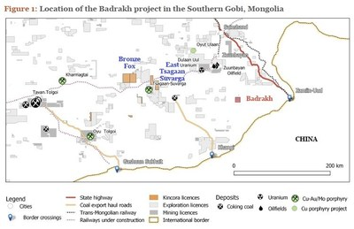 Figure 1: Location of the Badrakh project in the Southern Gobi, Mongolia (CNW Group/Kincora Copper Limited)