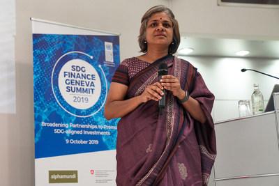 Ms. Gowri Mukherjee presenting at the SDG Finance Geneva Summit 2019
