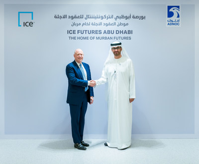 ADNOC Group CEO Dr Sultan Al Jaber with Jeff Sprecher, Chairman and Chief Executive Officer, Intercontinental Exchange.