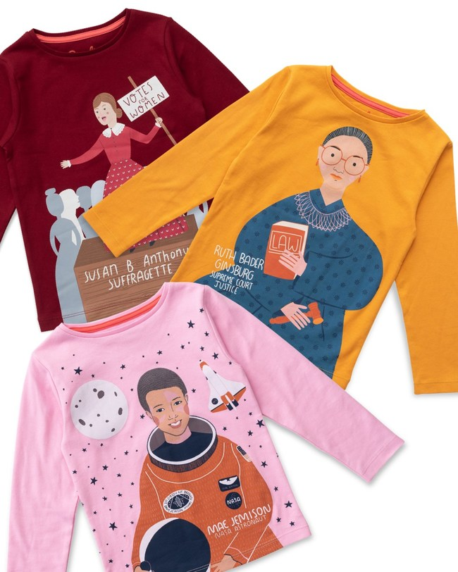 Piccolina's Trailblazer Tee Series comes in 13 designs including Susan B. Anthony, Ruth Bader Ginsburg and Mae Jemison.