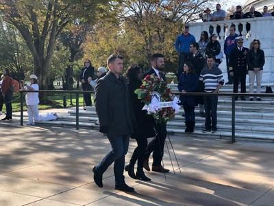 Tamara Geyer, a Marine Corps veteran, laid a wreath on behalf of WWP